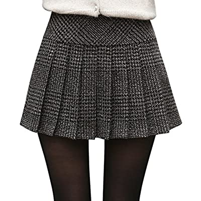 chouyatou Women's Casual Plaid High Waist A-Line Pleated Skirt at Women's Clothing store