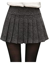 Women's Casual Plaid High Waist A-Line Pleated Skirt