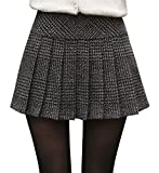 Chouyatou Women's Casual Plaid High Waist A-Line Pleated Skirt (Large, H344-Gray)