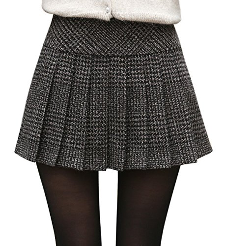 - chouyatou Women's Casual Plaid High Waist A-Line Pleated Skirt (Large, H344-Gray)