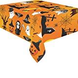 InterestPrint Home Decor Cartoon Halloween Pumpkin Ghost Spiderweb Tablecloth Sets 52 X 70 Inches – Funny Cat Tablecover Desk Table Cloth Cover Party Decoration