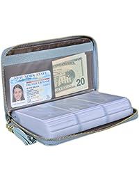 Credit Card Holder Wallet Womens Zipper Leather Case Purse RFID Blocking