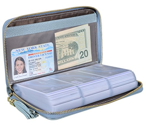 Easyoulife Credit Card Holder Wallet Womens Zipper Leather Case Purse RFID Blocking (Light Blue)