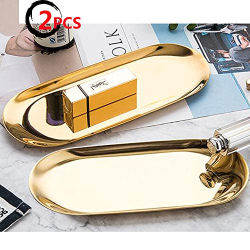 Bohai Gold Stainless Steel Oval Cosmetics Jewelry Decorative Tray 9in 2 - Oval Keychain Mirror