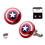 Marvel Captain America Shield Logo Stainless Steel Cufflinks w/Gift Box by Superheroes Brand
