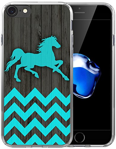 (7 Case Horse/8 Case/IWONE Designer Non Slip Rubber Durable Protective Replacement Skin Transparent Cover Shockproof Compatible with iPhone 7/8 Horse Blue Chevron Animal)