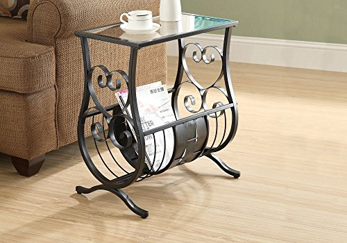 Monarch Specialties Metal Magazine Table with Tempered Glass, Satin Black ()