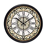 Living Room Bedroom Office Kitchen Non-Sounding Mute Retro Wall Clock (Black, White, Silver)