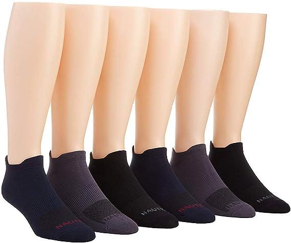 10-13//Navy//Gray//Black 183LC22 Nautica Microfiber Low Cut Socks 6 Pack