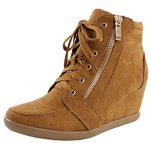 ShoBeautiful Women's Fashion Wedge Sneakers High Top Hidden Wedge Heel Platform Lace Up Shoes Ankle Bootie Tan 6 -