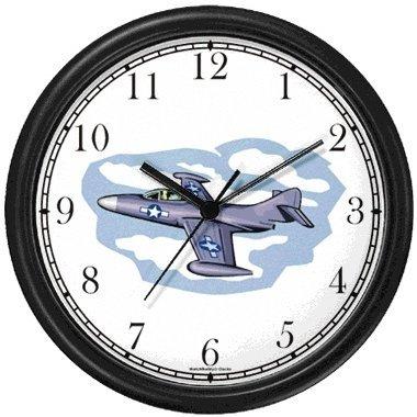 A-4 SkyhawkJet Plane Wall Clock by WatchBuddy Timepieces (Black Frame)