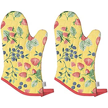 Now Designs Basic Oven Mitt, Berry Pouch - 6.5 x 13 in | Set of 2