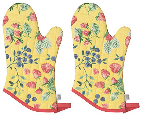 Now Designs Basic Oven Mitt, Set of Two, Berry Patch ()