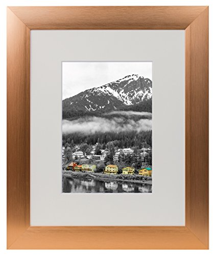 Golden State Art, Rose Gold Color Satin Aluminum Landscape Or Portrait Table-top Photo Frame with Ivory Color Mat & Real Glass (8x10)