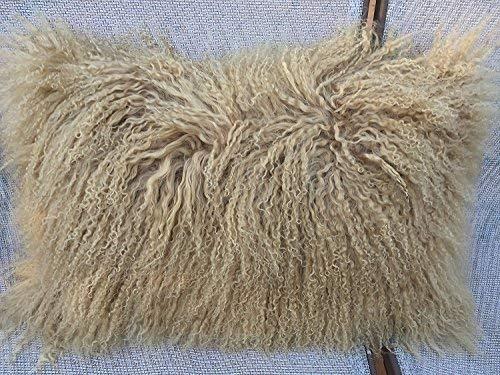Genuine Mongolian Tibetan Lamb Fur Pillow Cushion Beige 12