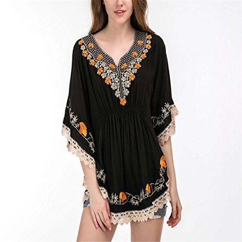 Plus Size Cotton Blouse Tunic Summer New Fashion Casual Embroidery