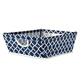 DII Collapsible Polyester Trapezoid Storage Basket, Home Organizational Solution for Office, Bedroom, Closet, & Toys (Tray - 16x12x5'') Nautical Blue Lattice