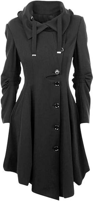 YOSICIL Femme Manteau Laine Parkas Trench Coat Veste Épaise Manches Longues avec Ourlet Asymétrique Coat Manteaux Chaud Automne Hiver Gabardine