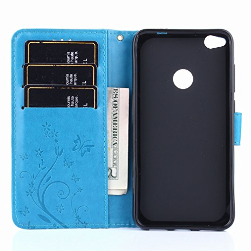 Yiizy Huawei P8 Lite (2017) / Honor 8 Lite Funda, Hierba FlorDesign Premium PU Leather Slim Flip Wallet Cover Bumper Protective Shell Pouch with Media Kickstand Card Slots (Azul)
