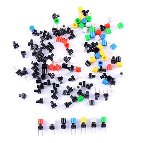 (Cylewet 70Pcs 6×6×8mm Momentary Tactile Tact Push Button Switch with Button Caps of 7 Color for Breadboard Arduino (Pack of 70) CYT1115)