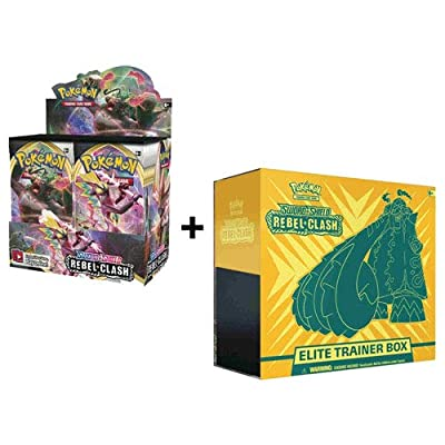Pokemon Sword and Shield Rebel Clash Booster Box + Elite Trainer Combo: Toys & Games