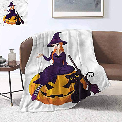 HCCJLCKS Throw Blanket Witch Cute Girl Sitting on Pumpkin All Season for Couch or Bed W70 xL84 Traveling,Hiking,Camping,Full Queen,TV,Cabin for $<!--$68.90-->