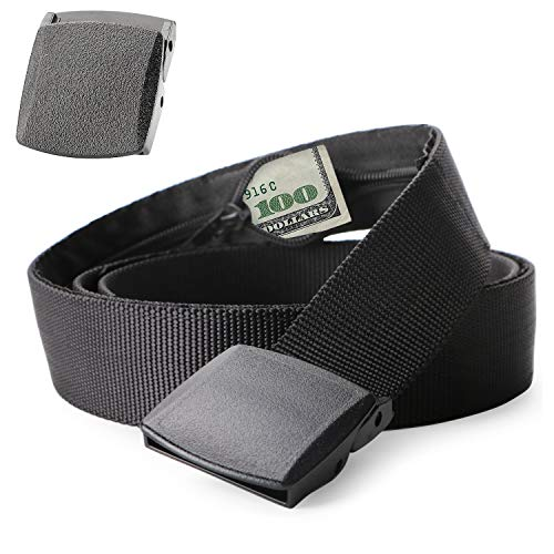 Travel Security Money Belt with Hidden Money Pocket - Cashsafe Anti-Theft Wallet Unisex Nickel free Nylon Belt by JASGOOD (Suit for pant size 26-40