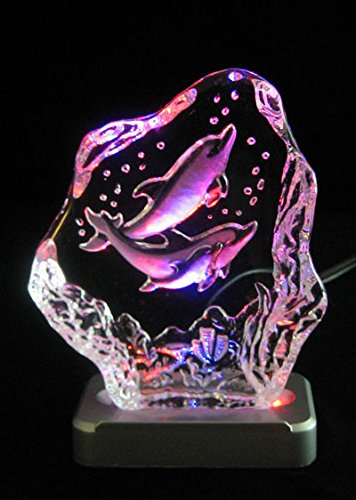 Engraved lead crystal Twin Dolphins on LED