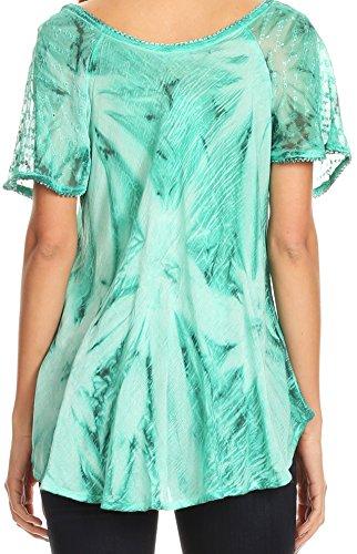 Aqua Tie Peasant Dye mancherons Hana Sakkas Blouse Relaxed Batik Broderie Top Fit PwFxa0