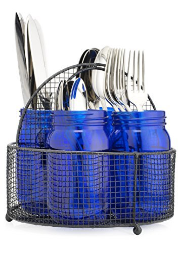 Elegant Home 5 PC Set Flatware Caddy Organizer (Blue)