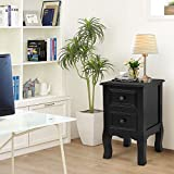Giantex Nightstand Wooden Mini W/ 2 Storage Drawers for Living Room Bedroom Kid's Room Storage Accent Home Funiture End Table