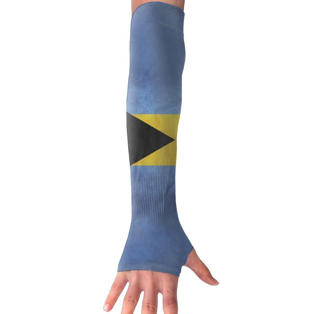 Retro Style Bahamian Flag UV Sun Protective Outdoors Stretchy Cool Arm Sleeves Warmer Long Sleeve Glove