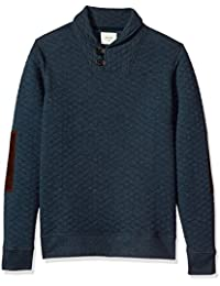 "<span class=""a-offscreen"">[Sponsored]</span>Men's Diamond Quilted Shawl Pullover With Suede Elbow Patches"