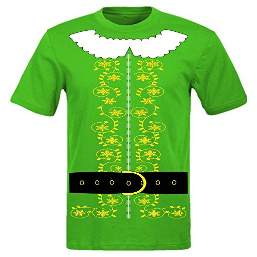 Elf Costume T Shirt Santa Christmas Holiday Shirt (X-Large, Kelly Green) - Movie Elf Costume