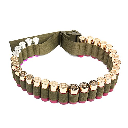 Shotgun Shell Bandolier Belt 12/20 Gauge Ammo Holder for Tactical Military Hunting(29 Rounds, 51.2'' x 1.98'') Tan (Ammo Belt Buckle)