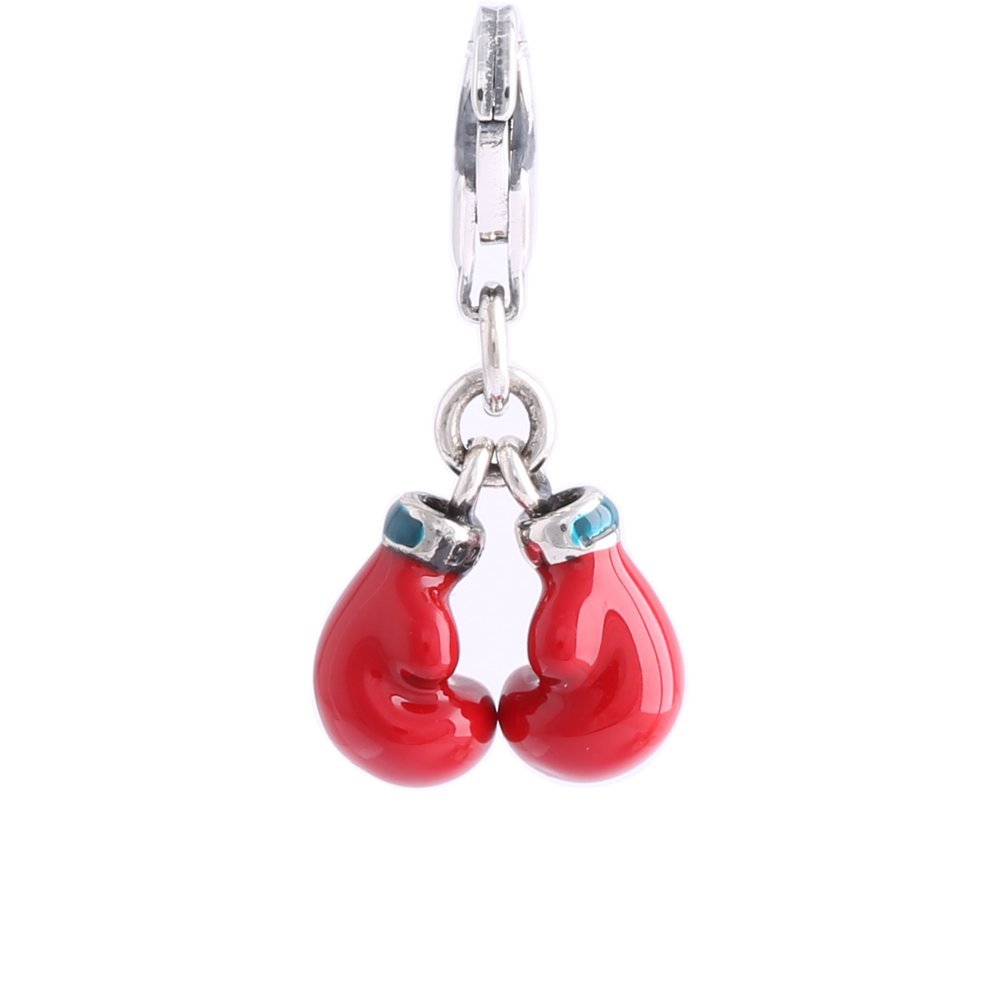 Jinglebell Jewelry Boxing Gloves Red /& Blue Enamel /& Sterling Silver Dangle Charm with Lobster Clasp