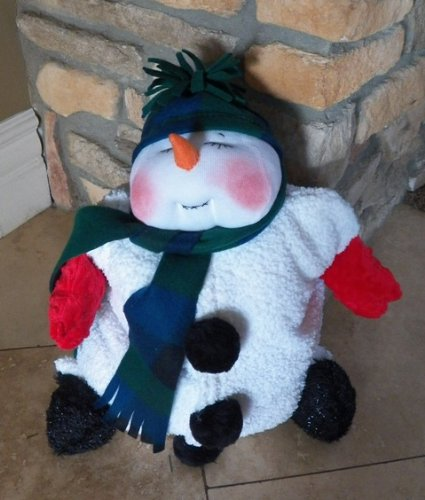 "Plush Snowman pajama bag or pillow, ""Snoozie the Snowman"" Pattern with Instruction CD/284/Made from Plush Fabric & Dolskin/ Soft Sculpted Face"