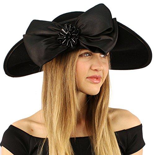 Winter Edwardian Flip Wool Felt Big Bow Floppy Wide Brim Derby Church Hat Black