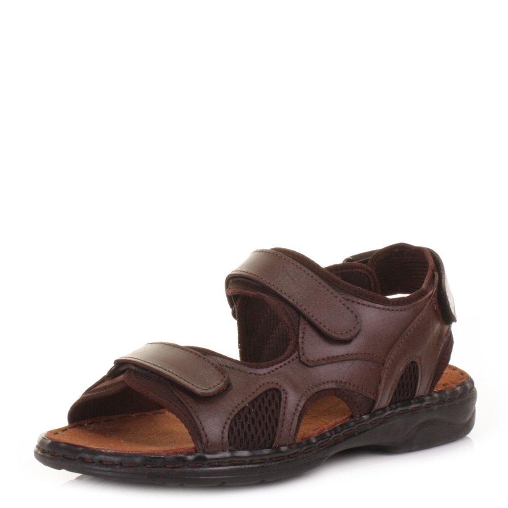 HN Shoes Sandales Homme cuir de vachette été Chaussure de plage Bout Fermé Respirant Randonnée, Brown, 44 EU
