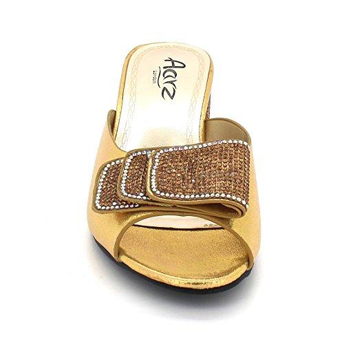 Diamante De Glisser Le Chaussures Cristal Dames Fête Talon Sandales Taille sur de mariée Mariage Soir des Femmes Bal Or Bloquer pYCEqAwxwn