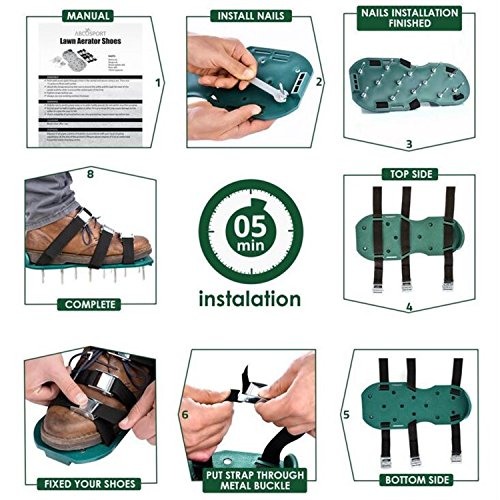 ODIER Lawn Aerator Shoes Cleats Aerating Lawn Soil Sandals 3 Adjustable Straps Heavy Duty Spiked Sandals for Aerating Your Lawn or Yard (Model-A) by ODIER (Image #2)