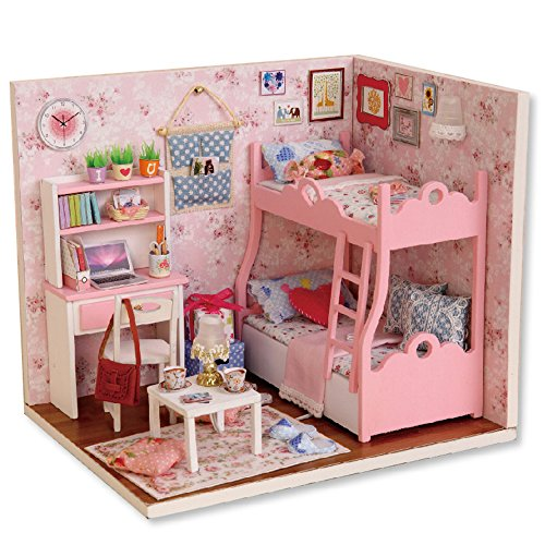 Spilay DIY Miniature Dollhouse Wooden Furniture Kit,Handmade Mini Home Model with Dust Cover ,1:24 Scale Creative Doll House Toys for Children Birthday Gift(Mood of Love) H012