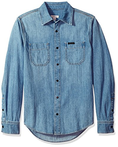 Calvin Klein Men's Long Sleeve Denim Button Down Shirt, Thompkins Blue, L ()