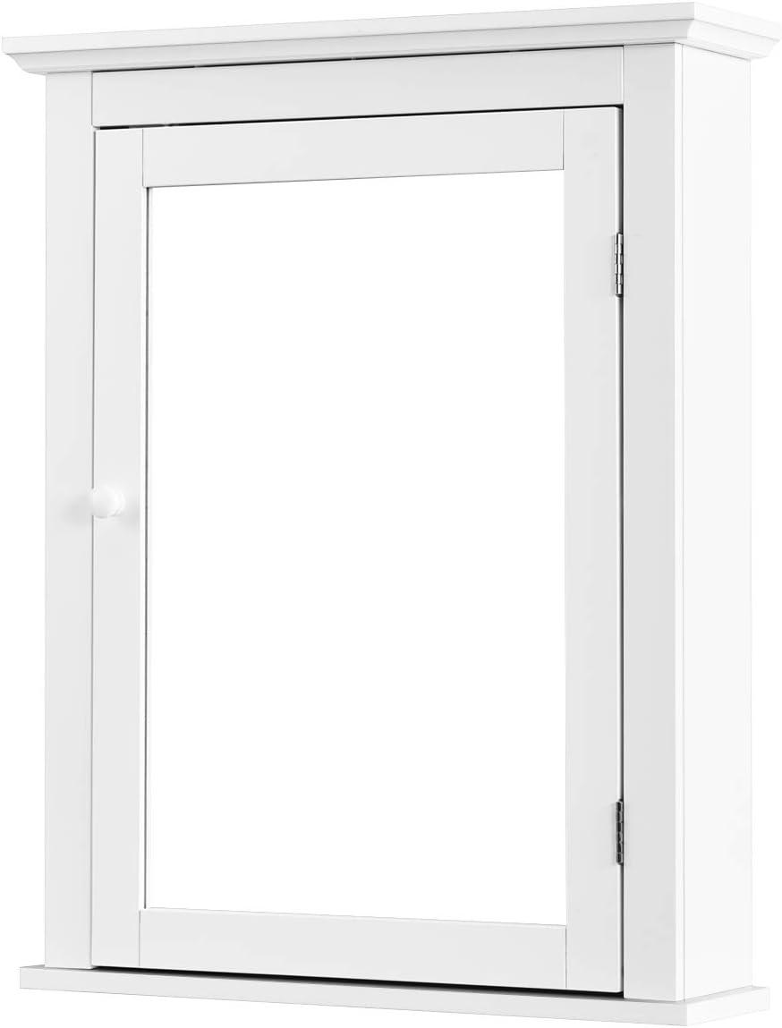 Wei/ß Badezimmerspiegel Badspiegel mit T/ür Wandschrank H/ängeschrank mit Stauraum mit H/öhenverstellbaren Regal Ebenen f/ür Badezimmer WC GOPLUS Spiegelschrank Badezimmer