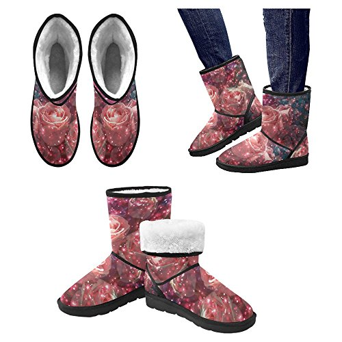 InterestPrint Womens Snow Boots Unique Designed Comfort Winter Boots Abstract Bouquet Rose Flower with Glitter Multi 1 EmteXYW