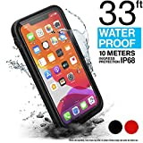 Waterproof Case for iPhone 11 Pro Max with Lanyard, Clear Back, 33ft Waterproof, 6.6ft Drop Proof, Built-in Screen Protector, Retail Packaging - Stealth Black