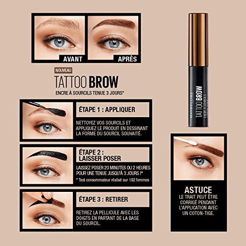 Maybelline Brow Tattoo Gel Tinte para Cejas Morenas, Marrón Oscuro (Dark Brown) - 4.6 gr: Amazon.es: Amazon Pantry