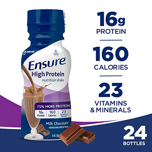 Ensure High Protein Nutrition Shake with 16 grams of high-quality protein, Meal Replacement Shakes, Low Fat, Milk Chocolate, 8 fl oz, (Pack of 24)