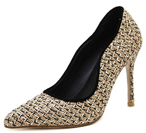 Idifu Donna Elegante Tacco Alto A Stiletto Con Tacco Slip On Pumps Shoes Albicocca