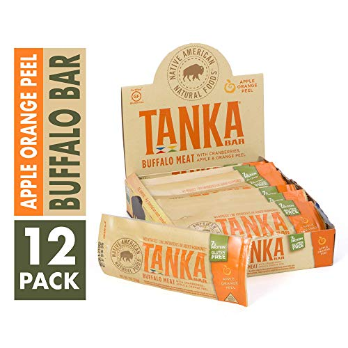 Bison Pemmican Meat Bars with Buffalo & Cranberries by Tanka, Gluten Free, Beef Jerky Alternative, Apple Orange Peel, 1 Oz, Pack of 12